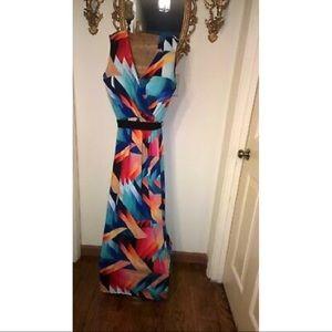 Sunny Leigh Colorful Geometric Maxi Dress S